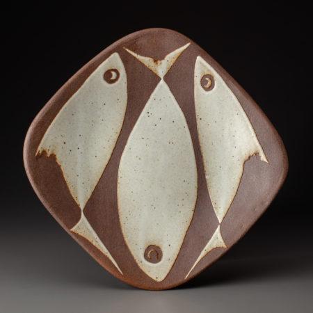 Fish Platter In Black Stoneware
